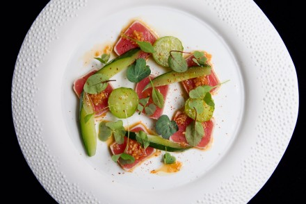 Seared Yellowfin Tuna (with Dried Miso & Wood Sorrel, Pickled Cucumber) by Sim Canetty-Clarke HR (14) copy
