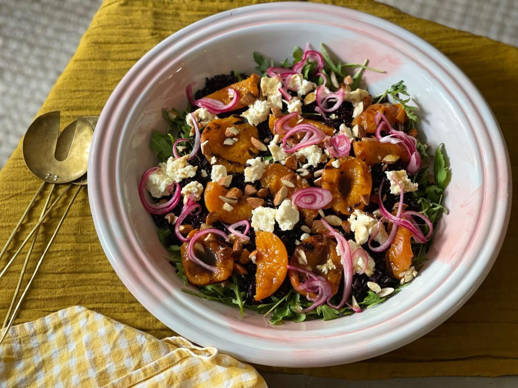 Riso Gallo nero rice salad with balsamic glazed apricots, roasted feta and almonds